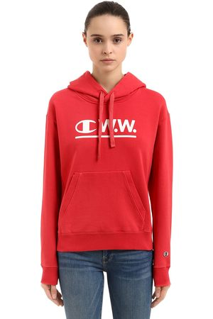 Champion WOOD WOOD LOGO HOODED COTTON SWEATSHIRT