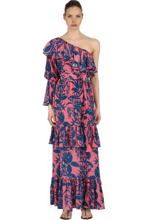 Borgo De Nor MARQUESA RUFFLED SILK CREPE MAXI DRESS