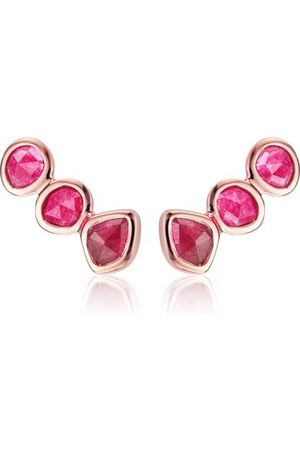 Monica Vinader Rose Gold Siren Climber Earrings Pink Quartz