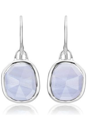 Monica Vinader Women Earrings - Sterling Silver Siren Wire Earrings Blue Lace Agate