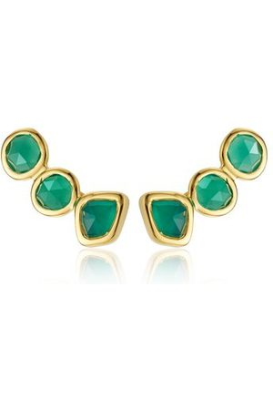 Monica Vinader Women Earrings - Gold Siren Climber Earrings Green Onyx