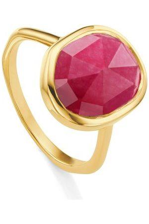 Monica Vinader Gold Siren Medium Stacking Ring Pink Quartz