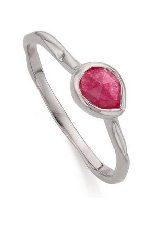 Monica Vinader Women Rings - Sterling Silver Siren Small Stacking Ring Pink Quartz