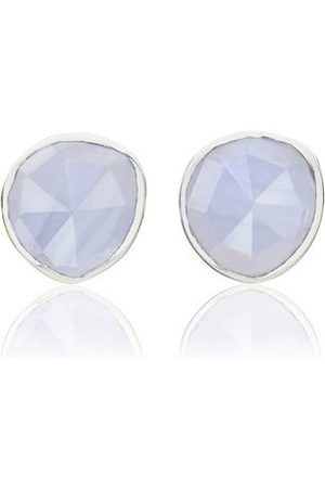 Monica Vinader Women Earrings - Sterling Silver Siren Stud Earrings Blue Lace Agate