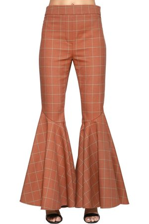 Ellery HIGH WAISTED COTTON CHECK FLARED PANTS