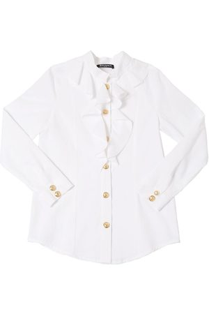 Balmain RUFFLED COTTON TWILL SHIRT