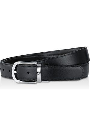 Mont Blanc Shiny Palladium-Coated Reversible Leather Belt