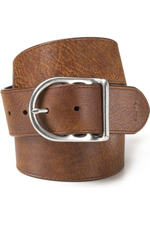 Ralph Lauren Polo Distressed Leather Belt with Dull Nickle Centerbar Buckle