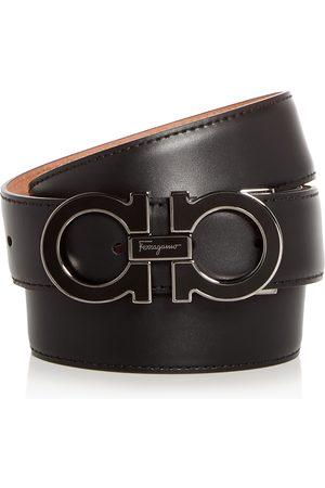 Salvatore Ferragamo Enamel Double Gancini Leather Belt