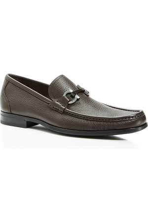 Salvatore Ferragamo Men's Grandioso Calfskin Leather Loafers with Double Gancini Bit