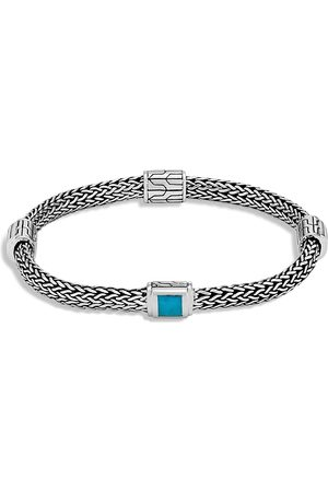 John Hardy Sterling Clic Chain Extra Small Four Station Bracelet With Turquoise
