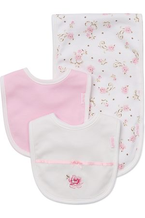 Little Me Girls' Rose Bibs & Burp Cloth Set - Baby