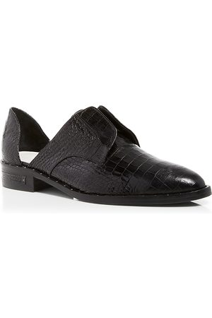 Freda Salvador Women's Wear Laceless d'Orsay Croc-Embossed Leather Oxfords