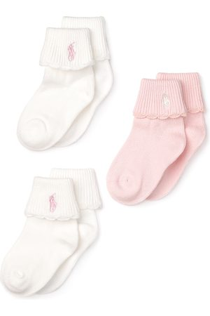Ralph Lauren Girls' Scallop Trim Socks, 3 Pack - Baby