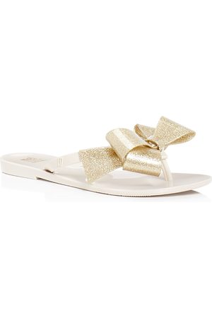 Mini Melissa Girls' Mel by Melissa Harmonic Glitter Bow Iii Flip-Flops - Little Kid