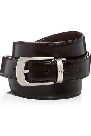 Mont Blanc Palladium Horseshoe Buckle Reversible Leather Belt