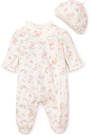 Little Me Girls' Vintage Rose Footie & Cap - Baby