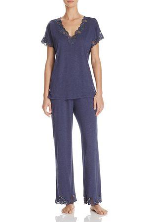 Natori Zen Floral Lace-Trim Short Sleeve Pajama Set