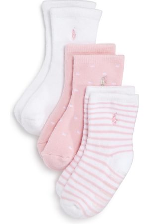 Ralph Lauren Girls' Crew Socks, 3 Pack - Baby