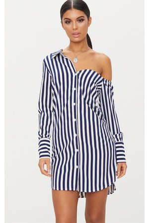 PRETTYLITTLETHING Striped Off the Shoulder Shirt Dress
