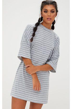 PRETTYLITTLETHING Grey Striped Oversized T Shirt Dress