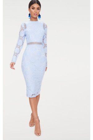 PRETTYLITTLETHING Dusty Long Sleeve Lace Bodycon Dress
