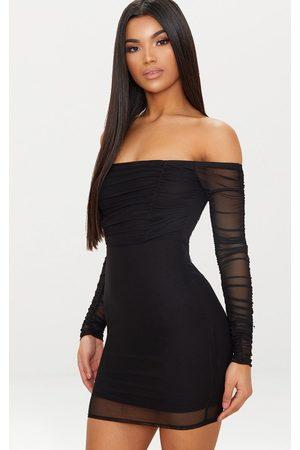 PRETTYLITTLETHING Ruched Mesh Bardot Bodycon Dress