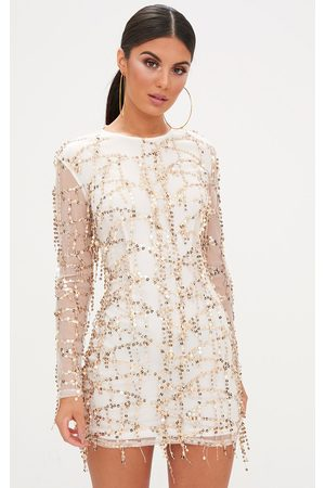 PRETTYLITTLETHING Freyana Rose Sequin Detail Long Sleeve Bodycon Dress