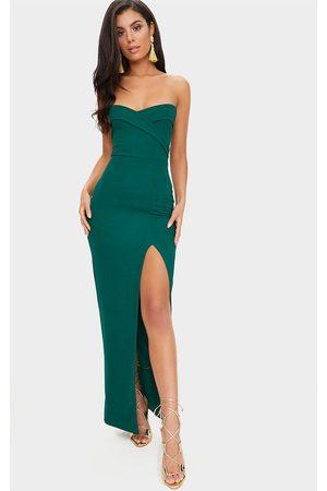PRETTYLITTLETHING Women Strapless Dresses - Emerald Bandeau Folded Detail Extreme Split Maxi Dress