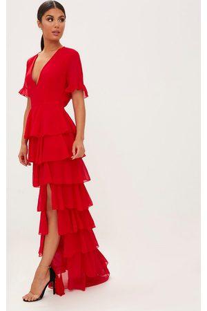 PRETTYLITTLETHING Chiffon Ruffle Layer Maxi Dress