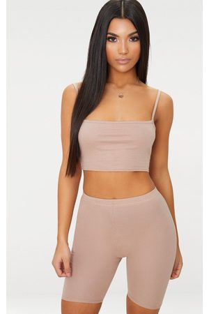 PRETTYLITTLETHING Taupe Jersey Square Neck Crop Top