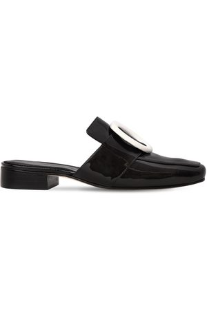 DORATEYMUR 10MM PETROL SHADOW PATENT LEATHER MULES
