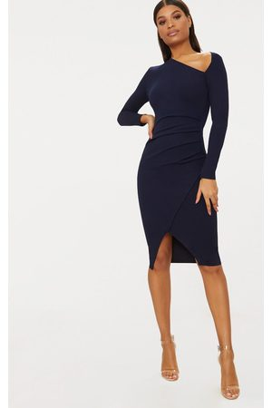 PRETTYLITTLETHING Navy Asymmetric Neck Pleated Wrap Midi Dress