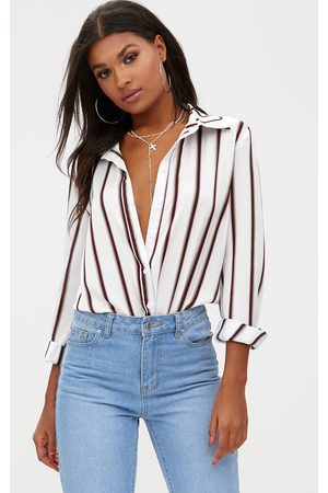 PRETTYLITTLETHING Satin Stripe Shirt