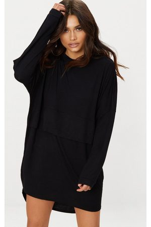 PRETTYLITTLETHING Long Sleeve Layer Jersey T Shirt Dress