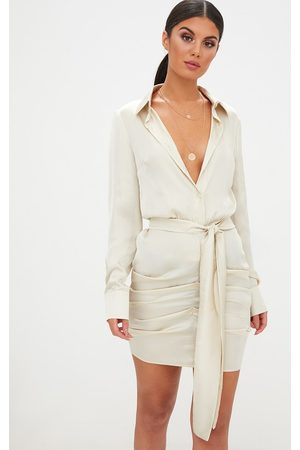PRETTYLITTLETHING Champagne Satin Ruched Shirt Dress
