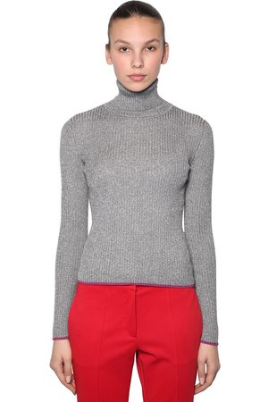 MARCO DE VINCENZO LUREX RIBBED TURTLENECK SWEATER
