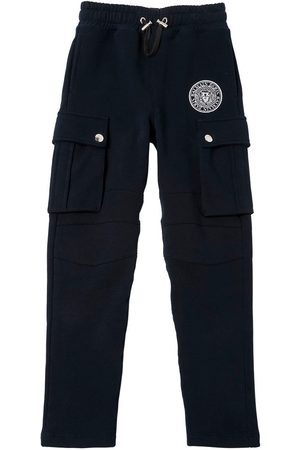 Balmain LOGO CREST COTTON CARGO SWEATPANTS