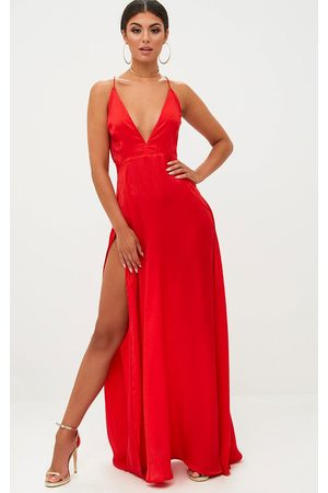 PRETTYLITTLETHING Extreme Split Strappy Back Maxi Dress