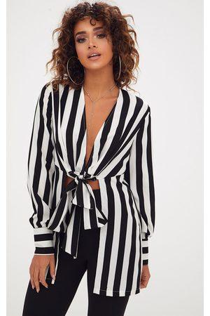 PRETTYLITTLETHING Monochrome Stripe Tie Front Long Blouse