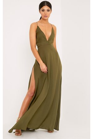 PRETTYLITTLETHING Beccie Khaki Extreme Split Strappy Back Maxi Dress