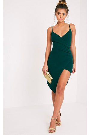 PRETTYLITTLETHING Lauriell Emerald Wrap Front Midi Dress