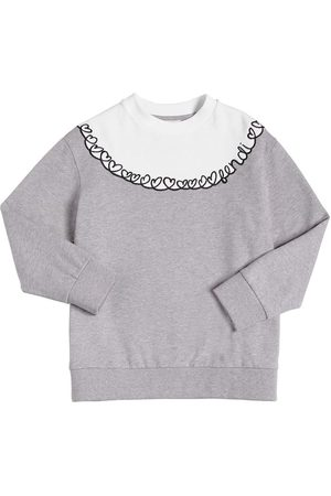 Fendi HEARTS EMBROIDERED COTTON SWEATSHIRT
