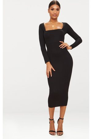 PRETTYLITTLETHING Square Neck Long Sleeve Midaxi Dress