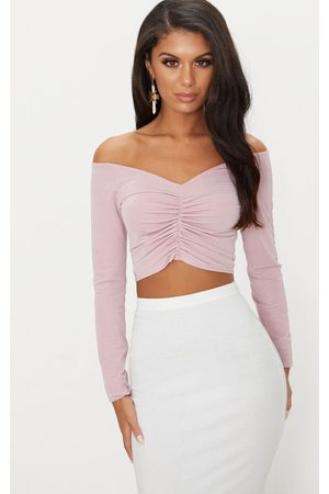 PRETTYLITTLETHING Dusty Slinky Ruched Front Long Sleeve Crop Top