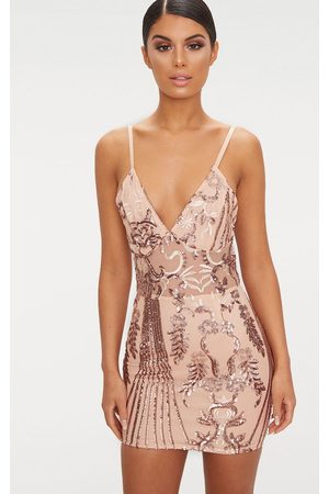 PRETTYLITTLETHING Rose Sheer Strappy Panel Sequin Bodycon Dress