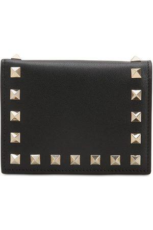 VALENTINO GARAVANI Rockstud Leather Compact Wallet