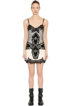 FAUSTO PUGLISI WOOL CREPE & LACE MINI DRESS