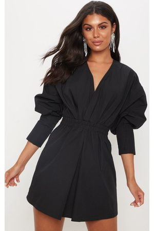 PRETTYLITTLETHING Plunge Ruched Shirt Dress
