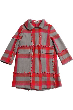 PÉRO Girls Coats - EMBROIDERED POMPOM CHECK WOOL KNIT COAT